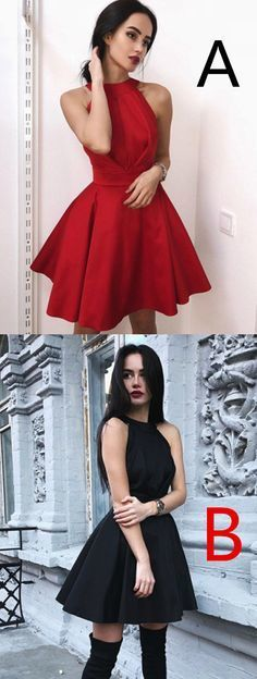 Newest Simple Halter Red Cheap Backless Short Homecoming Dress