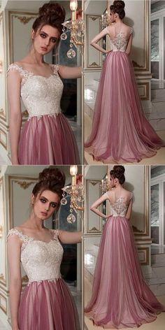 Chic A-line Bateau Lace Prom Dresses Pink Long Prom Dress Evening Dress