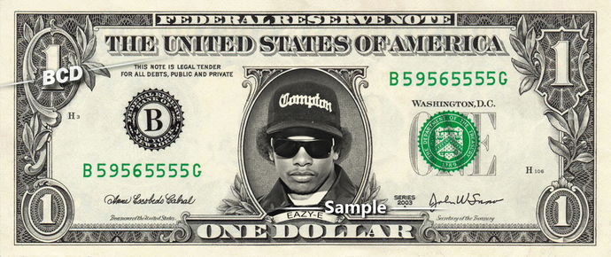 EAZY-E on a REAL Dollar Bill Cash Money Collectible Memorabilia Celebrity Note