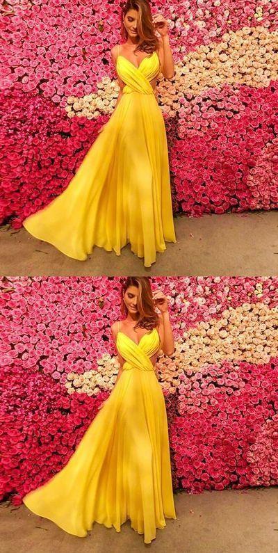 Simple open back yellow long chiffon prom dress