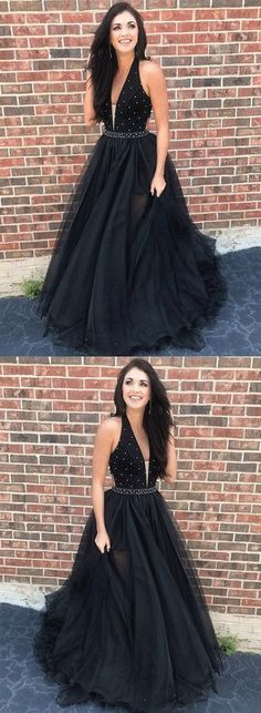 Black v neck tulle long A-Line prom evening dress