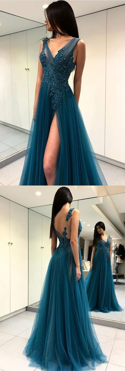 Long Tulle Lace Embroidery Teal Prom Dresses Sexy Leg Split Evening Gowns