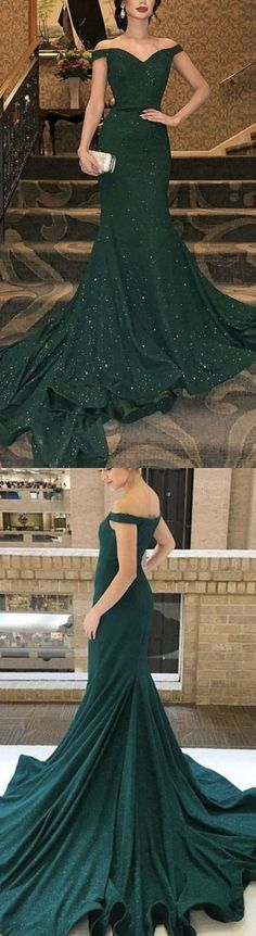 Emerald Green Mermaid V-neck Off Shoulder Dress