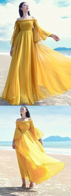 yellow-holiday-dress-slash-neck-flare-sleeve-cock Dress