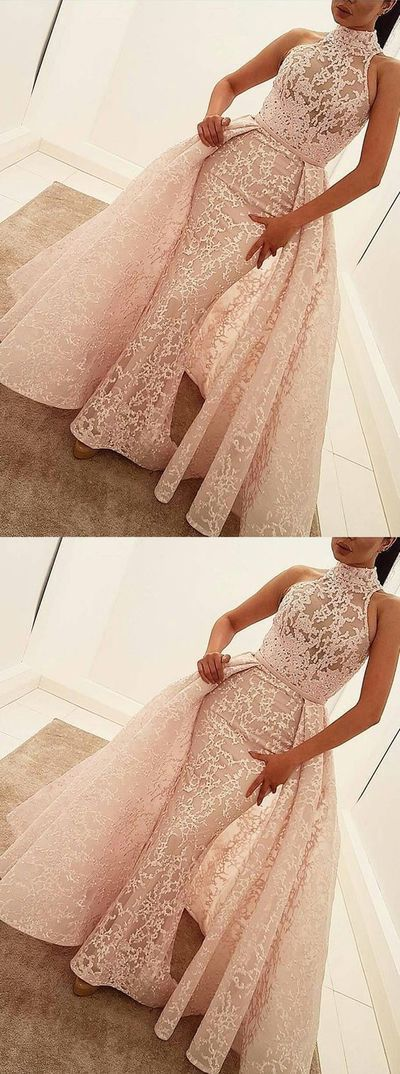 Mermaid High Neck Court Train Detachable Champagne Lace Prom Dress