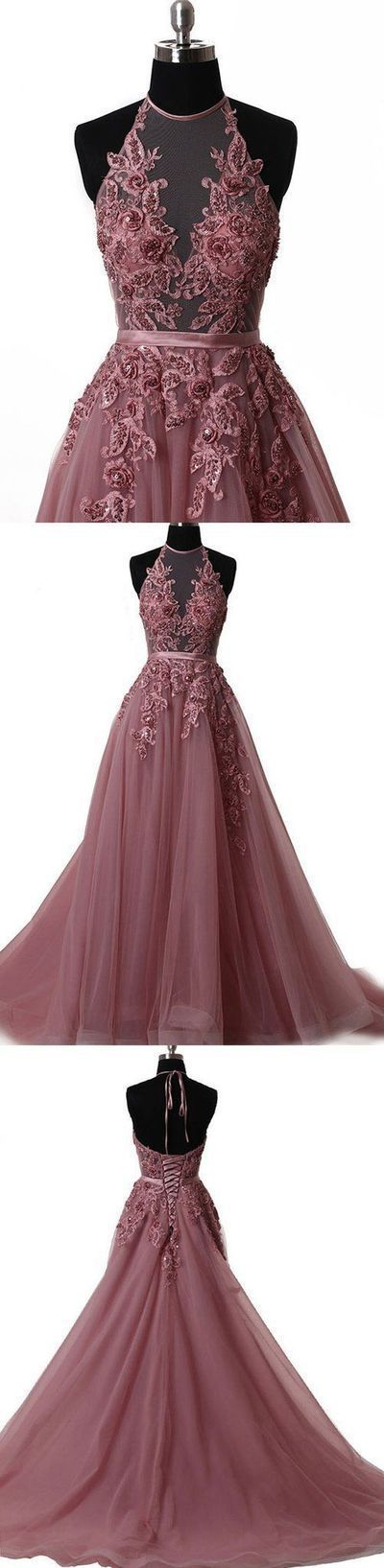 Latest Tulle and Lace Halter Long Prom Dresses Evening Party Dresses