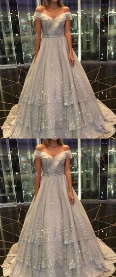 elegant off the shoulder gray prom dress, shiny tiered party dress with