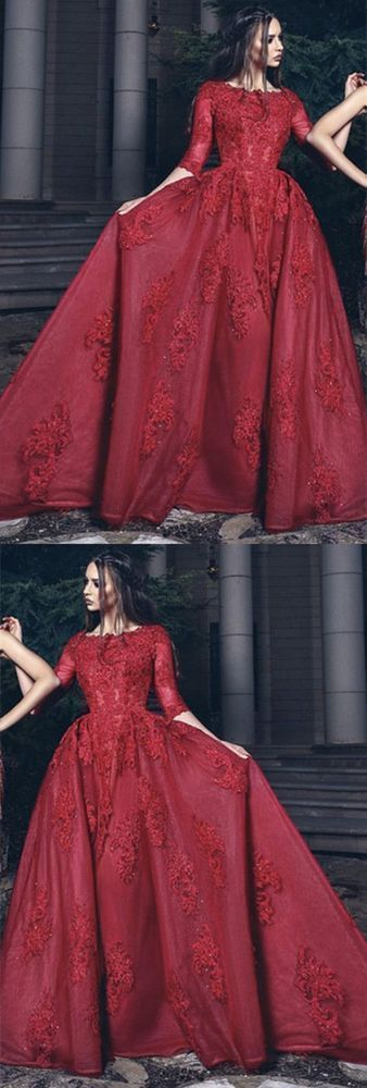 Red prom dresses,half sleeve evening dress, prom dress with appliques