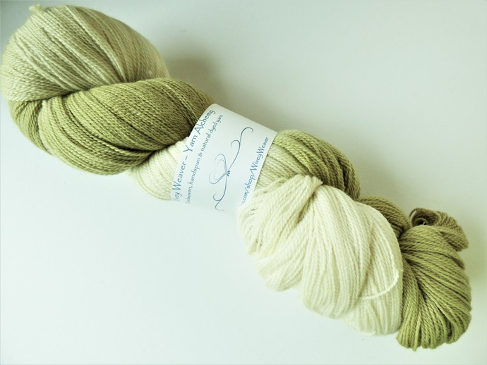 Natural / Eco Dip Dyed with Privet – 100% Organic Falkland Merino Wool – 110
