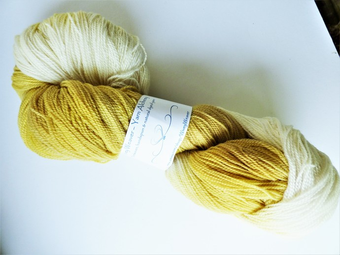 Natural / Eco Dip Dyed with Goldenrod – 100% Organic Falkland Merino Wool – 104