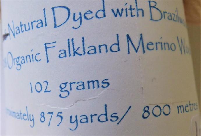 Natural / Eco Dip Dyed with Brazilwood– 100% Organic Falkland Merino Wool – 102