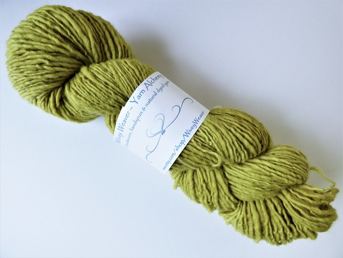 Handspun Yarn Natural / Eco Dyed with Privet – 100% Organic Merino – 53 grams –