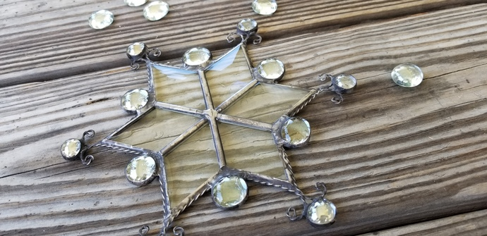Stained glass snowflake suncatcher Christmas ornament handmade with rustic