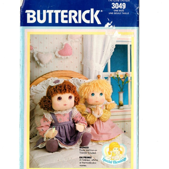 Butterick 3049 Special Blessings Dolls 80s Vintage Sewing Pattern Uncut 18""