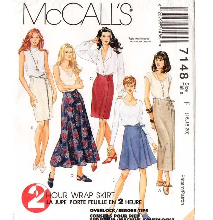 McCall's 7148 Misses 2 Hr Wrap Skirt 90s Vintage Sewing Pattern Uncut Size 16,