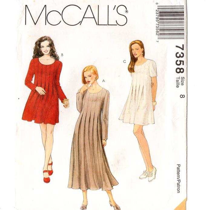 McCall's 7358 Misses Loose Dress Pleat Detail 90s Vintage Sewing Pattern Uncut