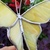 Yellow stained glass butterfly plant stake mimosa 3d handmade plant poke garden