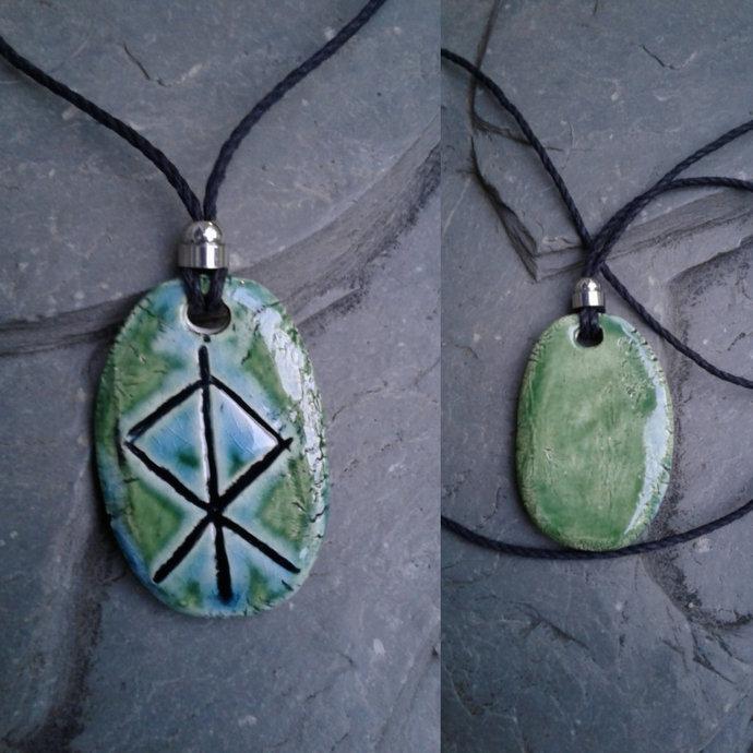 Thor Necklace Turquoise Green Norse Runestone Pendant Ceramic Viking Amulet God