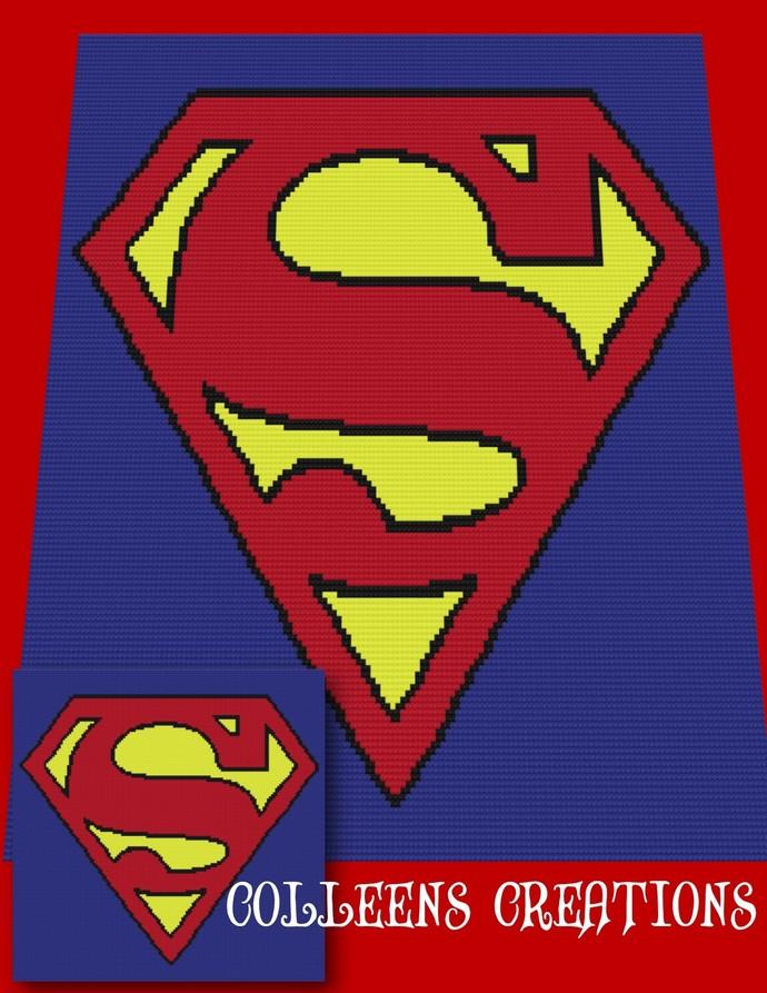 Superman Crochet Written And Graph Design