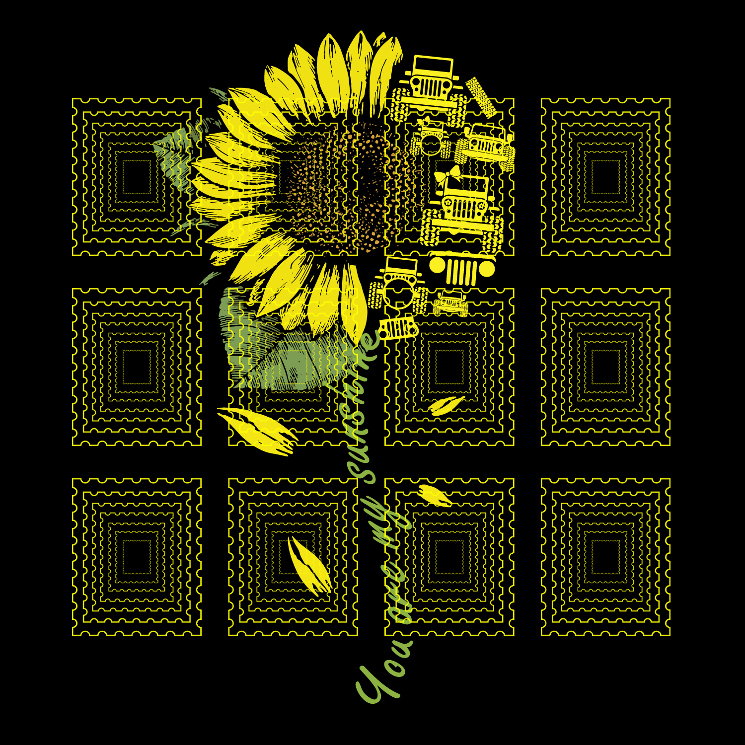 You Are My Sunshine Sunflower Jeep svg, You Are by ...