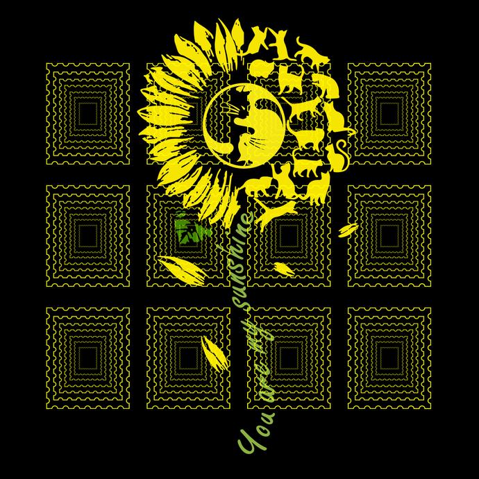 You Are My Sunshine Sunflower Cat svg, sunflower Cats svg,sunshine cat svg,png,