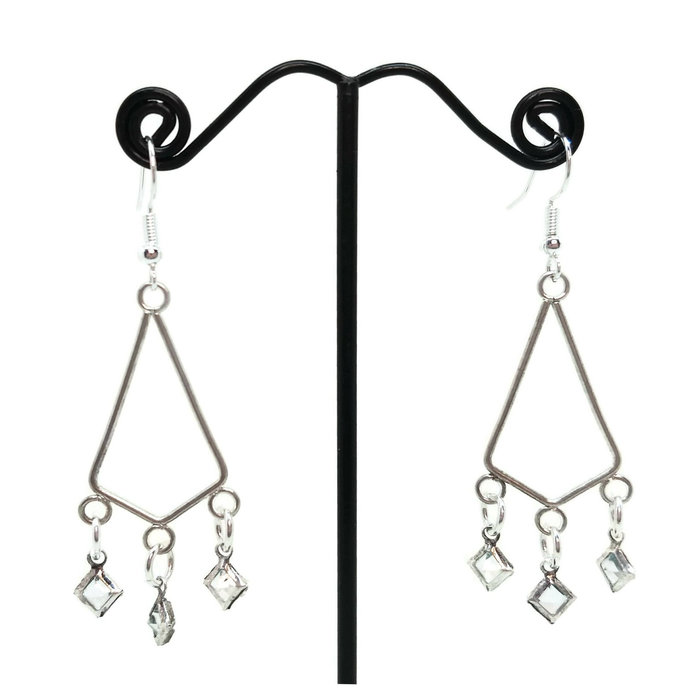 Silver Plated Triangle Barely Blue Dangle Chandelier Earrings, Nickel Free, Prom