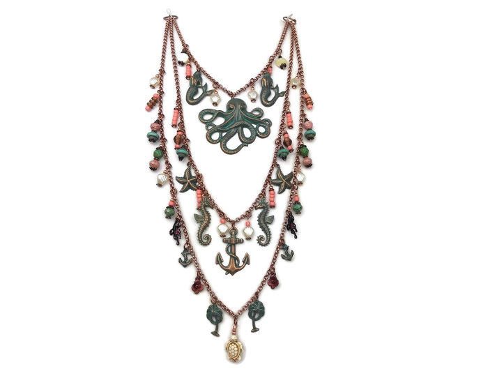 Under the Sea Ocean Themed Layered Statement Necklace Coral Pink Patina Green