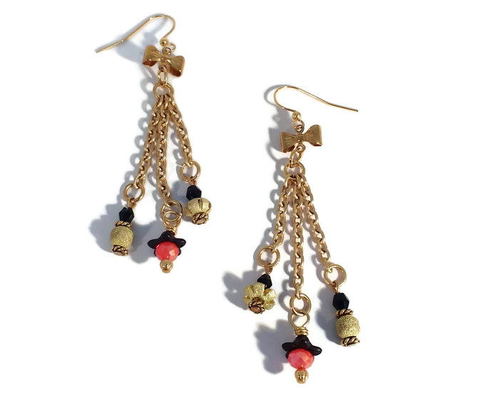 Handmade Bowtie Red & Black Gold Plated Shoulder Dusters Earrings, Unique One of