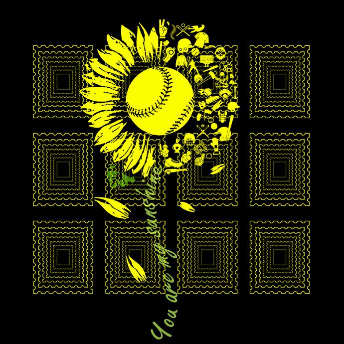 You Are My Sunshine Sunflower Softball svg, Softball  sunshine, Softball