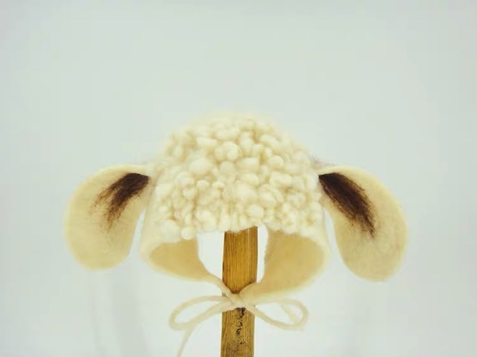 Little Sheep Shape Baby Children Bonnet Hat -- Hand Wet Felted Wool Hat