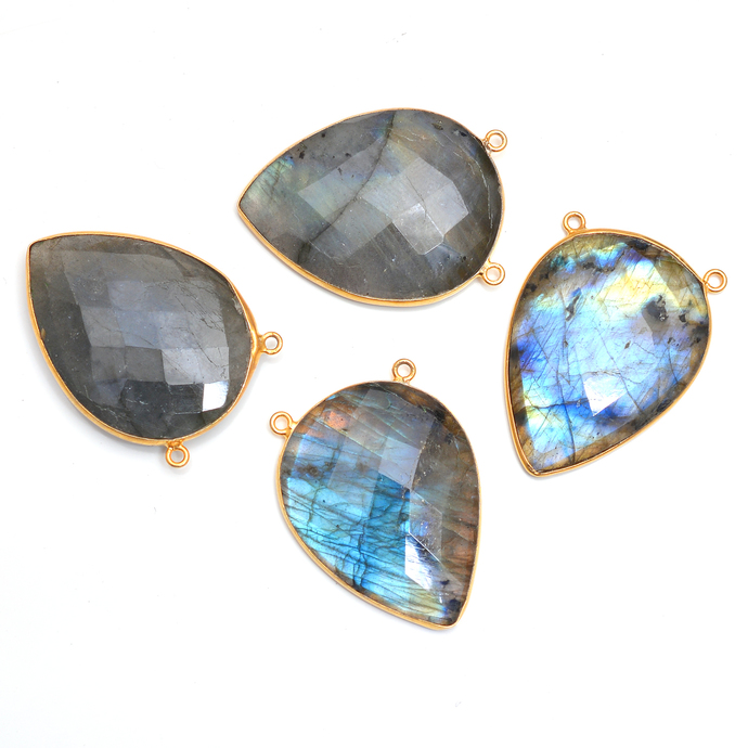 Gold Plated Sterling Silver Bezel Labradorite  Connector Pear cut faceted