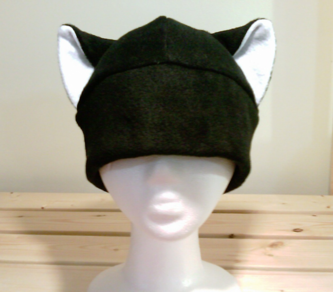 BLACK / WHITE KITTY cat fleece HAT cosplay ANIME