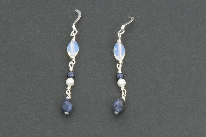 Blue Sodalite Semi-Precious Gemstone Earrings