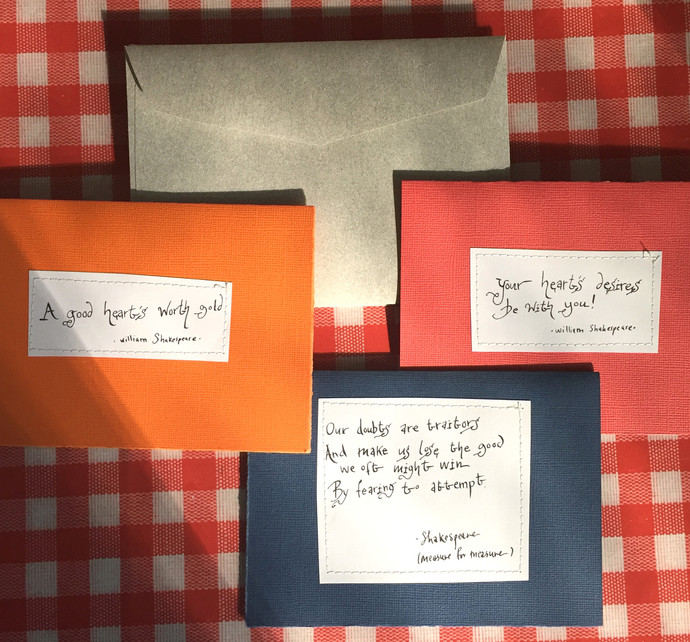 3-pack of Handmade Cards with Shakespeare quotes Handmade envelopes included