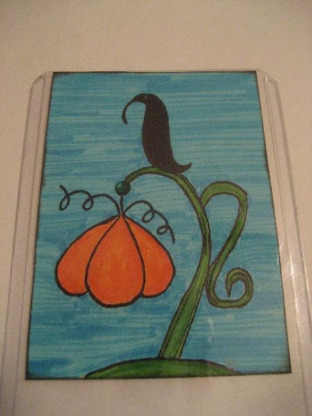 Crow on pumpkin  ACEO art card