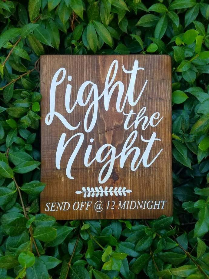 Sparkler send off sign, wooden wedding sign, light the night wedding sign,