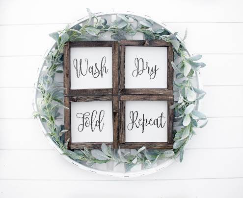 Wash dry fold repeat, laundry room set, laundry room signs, wash, dry, fold,