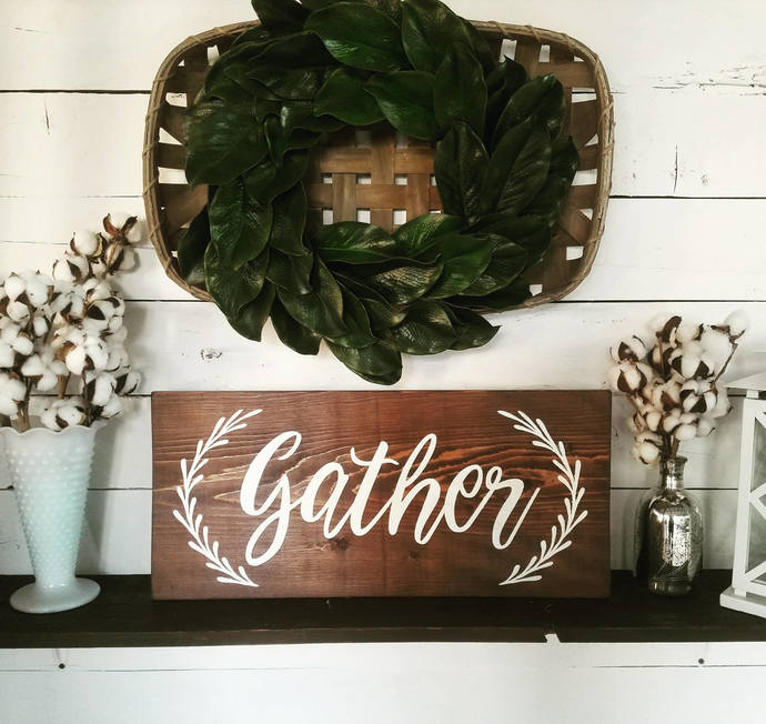Large wooden gather sign with garland accents, gather sign, dining room decor,