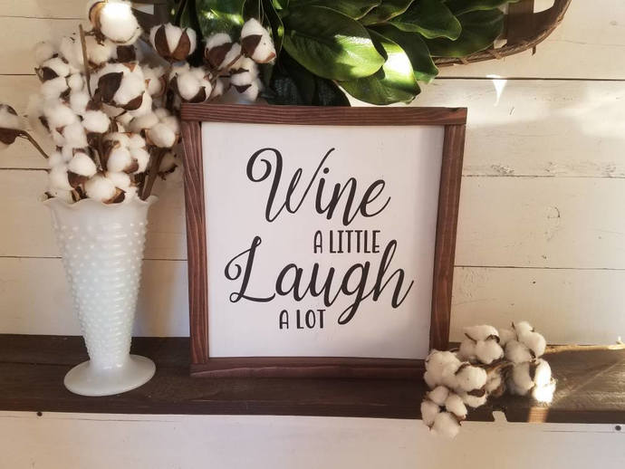 Wine a little laugh a lot, framed wooden sign, kitchen decor, kitchen signs,