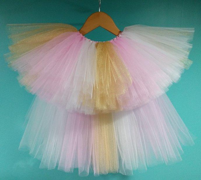 Pink White & Gold High Low Tutu - Flower Girl Tutu - Kids Tutu - Birthday Tutu