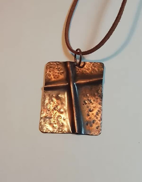 Handmade Copper pendant cross fold formed medal pendent with patina.