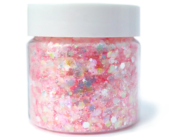 Peppermint Kiss - Loose Pink & Blue Iridescent and Metallic Silver Chunky