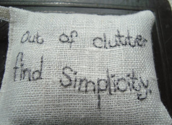Out of clutter find simplicity - Lavender sachet with embroidery Albert Einstein
