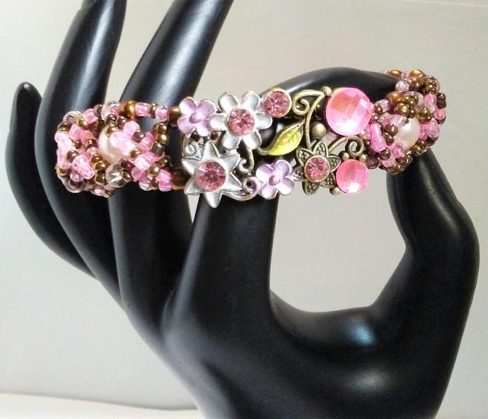 Pink Rhinestones Flower Bracelet Handmade, pink pearls, crystal seed beads