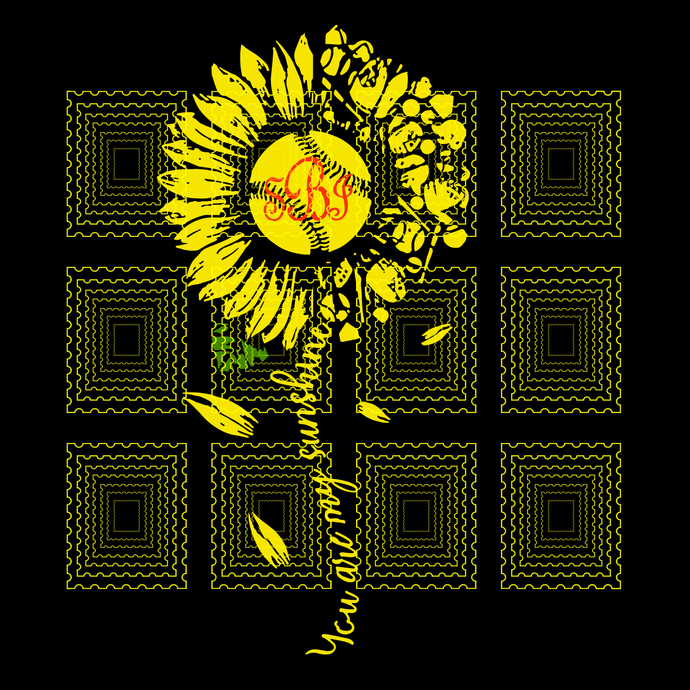 You Are My Sunshine Sunflower Softball SBJ svg, png, dxf, vector for cricut