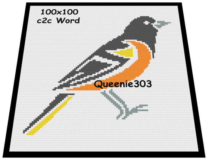 Oriole Bird 100x100 c2c (CORNER to CORNER)