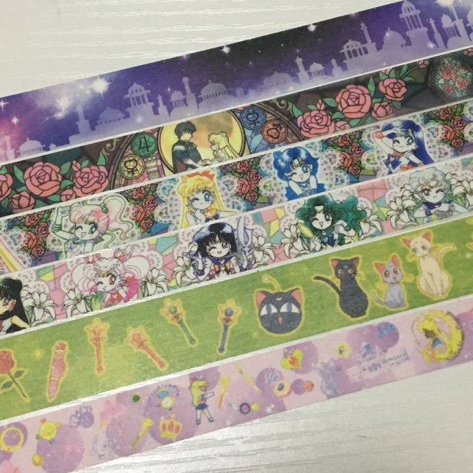 SAMPLE: 6 Designs of Japanese Anime Sailor moon Theme Limited Edition Washi Tape