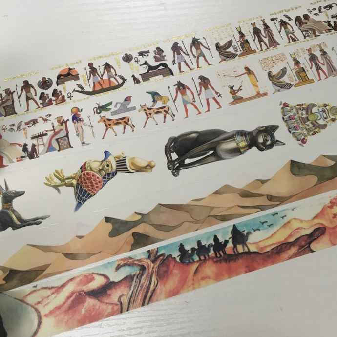 SAMPLE: 5 Designs of Ancient Egyptian Theme Limited Edition Washi Tape (1m each)