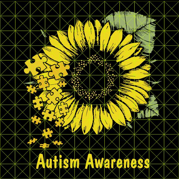 You Are My Sunshine Sunflower Awareness svg, World Autism Awareness Day,