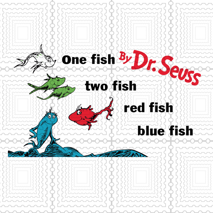 One fish two fish svg, red fish blue fish Svg, Clipart, PNG, Cutting File for
